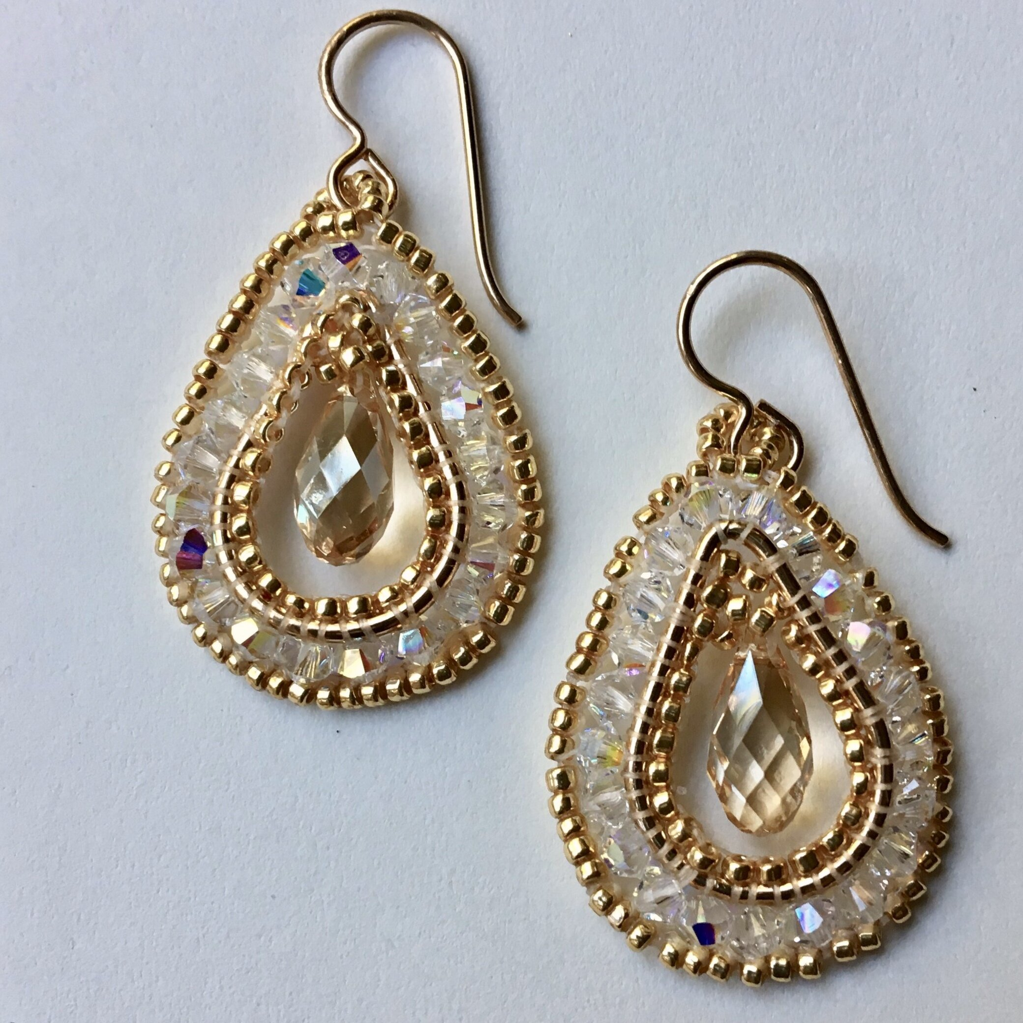 NEW! Gold and Crystal Teardrop Earrings
