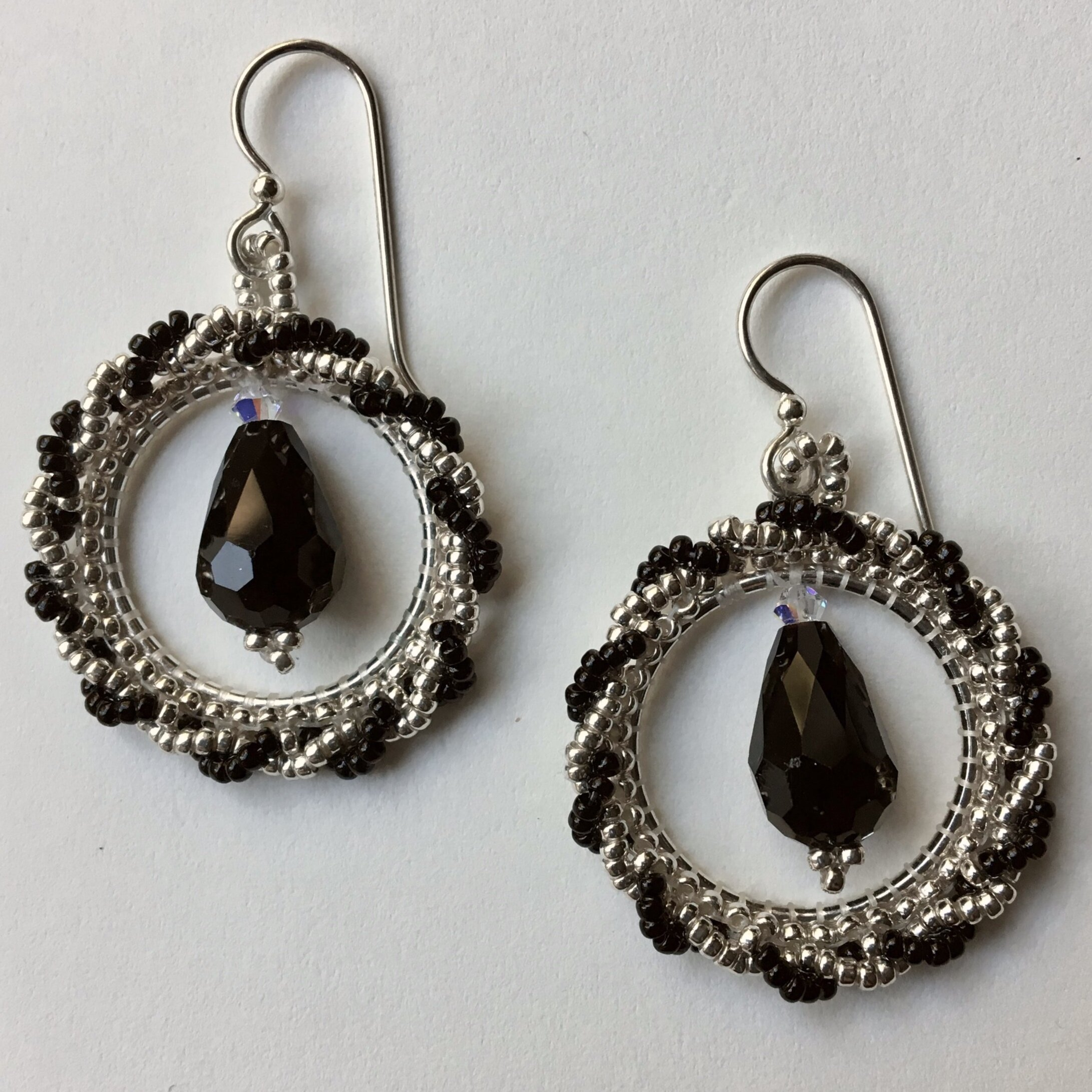 NEW! Twisted Silver and Black Hoops with Jet Crystal Drop Earrings