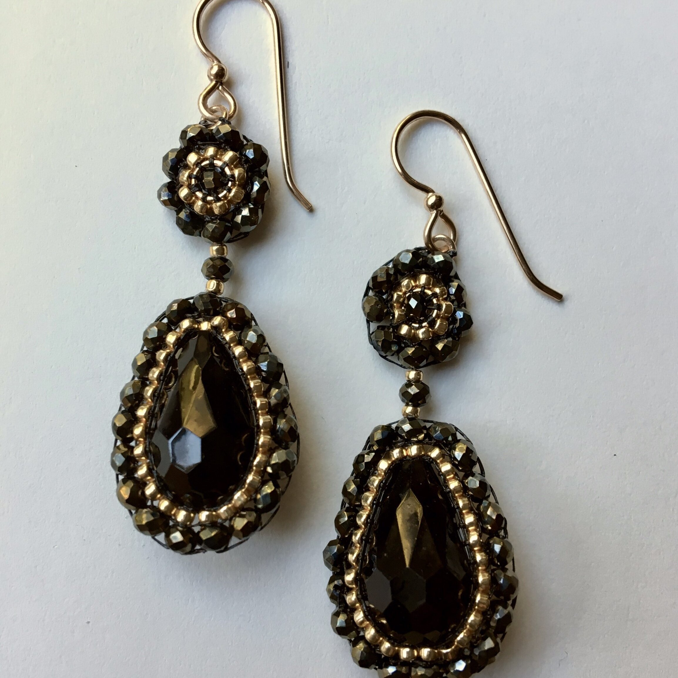 NEW! Jet Crystal with Gold Drop Earrings