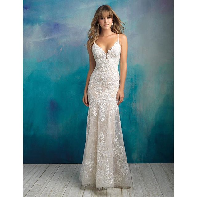 "This Allure gown is certainly a stunner. With light romantic beading and soft lace with a beautiful hem it is sure to give you that ""wow moment""! Come see us to try it on! #birminghambride #bellacouture #weddinginspo #bridalinspo #allurebridals 👰🏼😍✨"