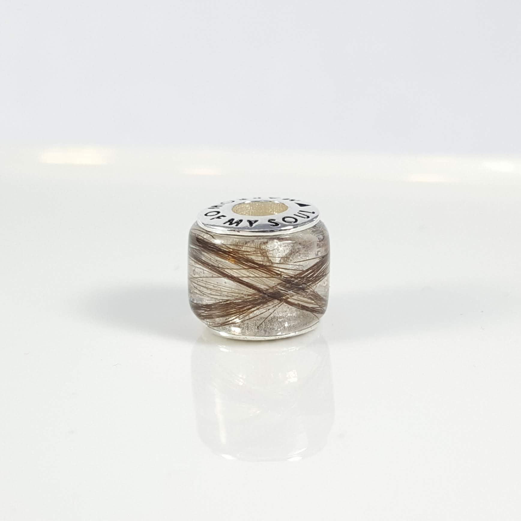 White and Brown Hair in Barrel Charm Bead