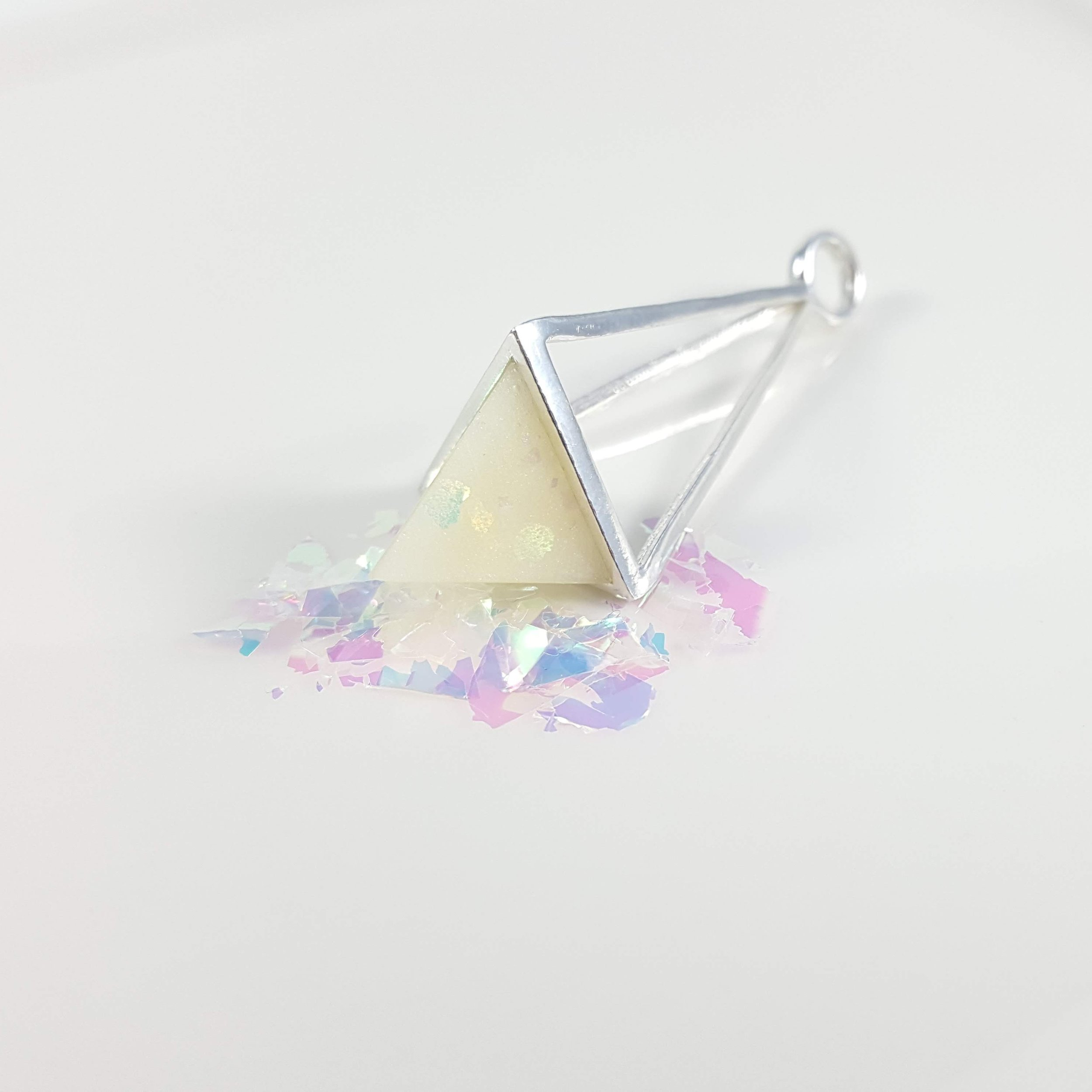 Opal Effect Breast Milk in Prism Pendant