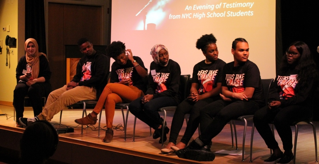 Teens Take Charge members discuss educational inequity during an all-student panel at the launch event April 28 in the Bronx.