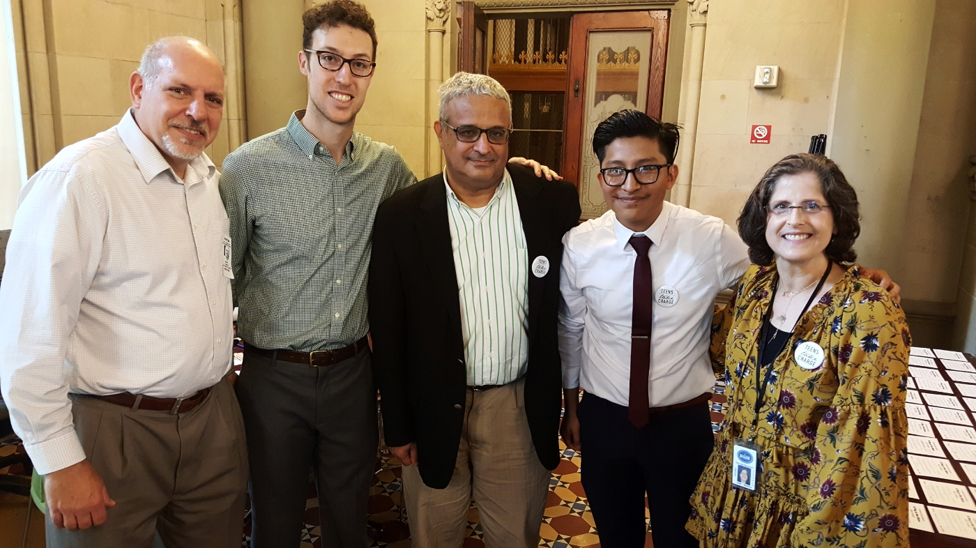 Left to right:  Principal Henry Zymeck, TTC facilitator Taylor McGraw, Panel for Educational Policy member Michael Kraft, TTC policy team leader Jorge Morales, Councl Member Helen Rosenthal