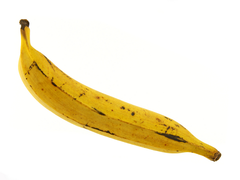 Ripe plantains are yellow with black mottling