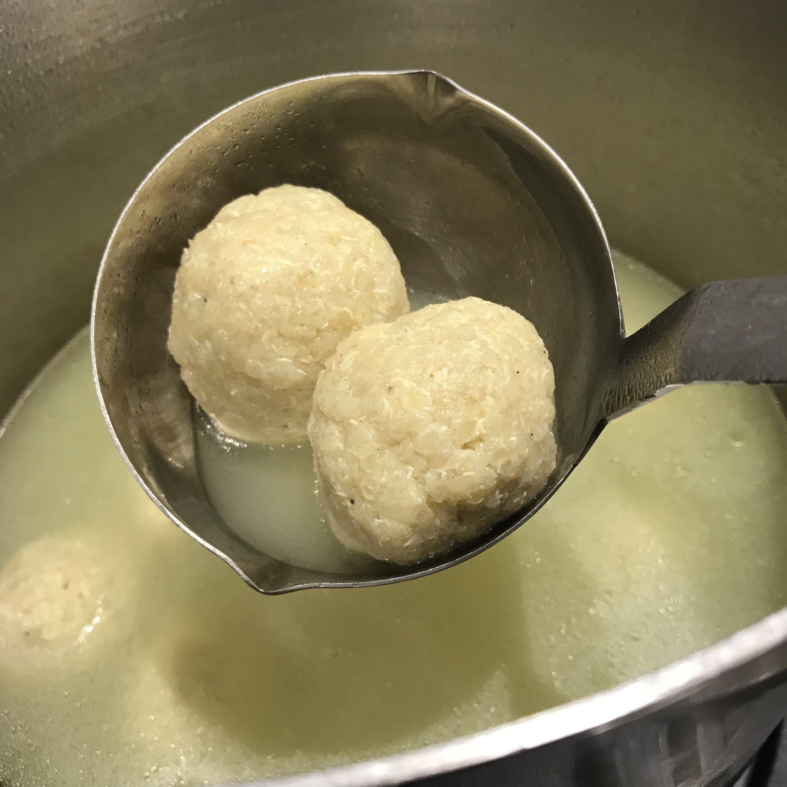 Gluten Free Quinoa Matzoh Balls  (image T. Freuman)