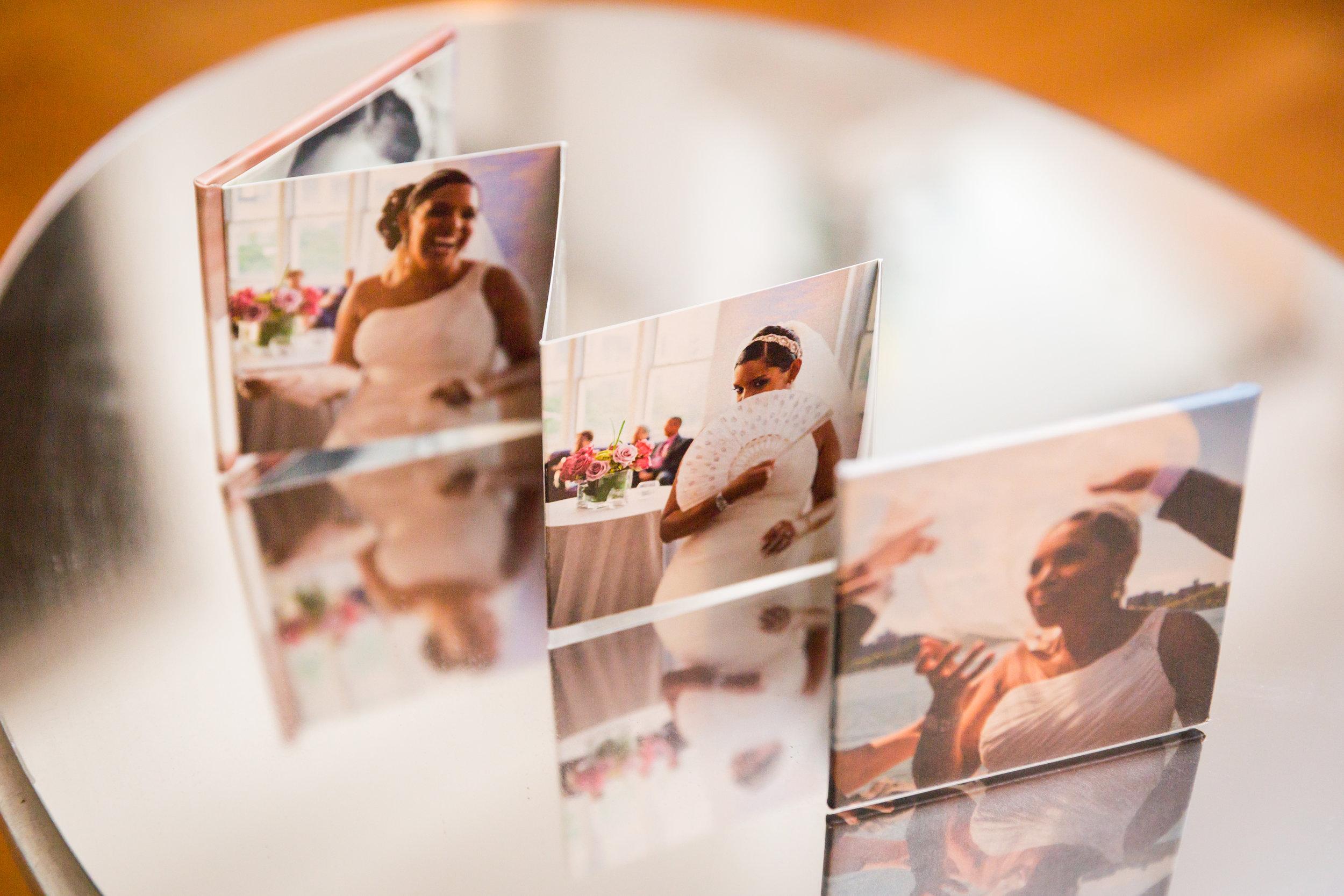 Wedding accordion album with photos of bride