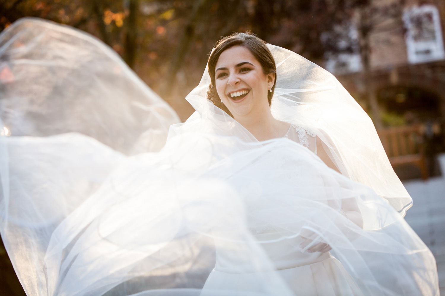 Bride with flowing veil