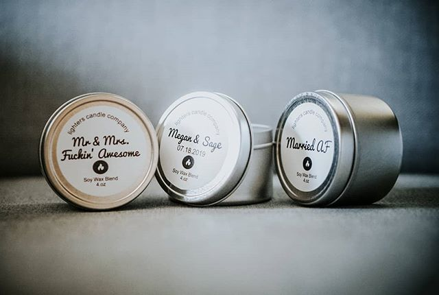 New!  Grab a unique wedding gift with our three piece custom candles. Personalize the name, date and scent.  Includes 1 Mr & Mrs. Fuckin' Awesome (alternative references available) 1 Married AF And 1 custom 4oz. tin candle