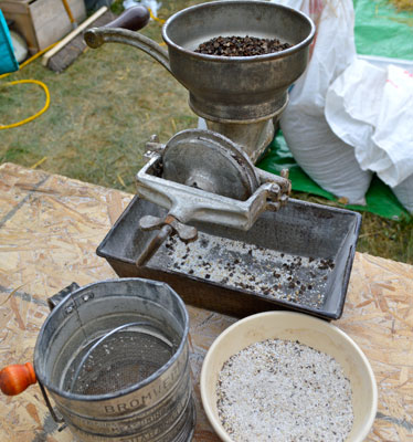 Fresh buckwheat flour. English photo.