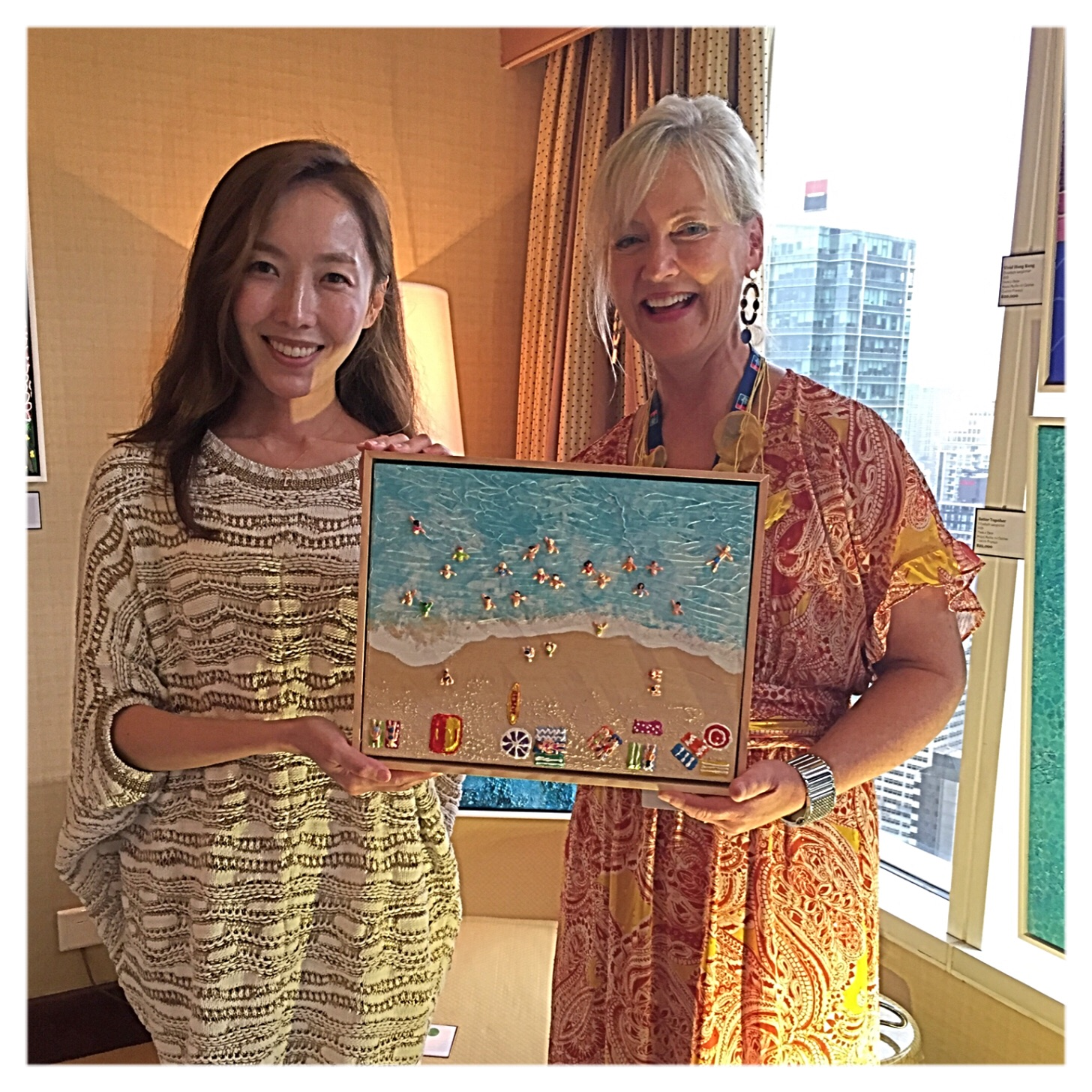 """CEO of NY Inspiration Kate Lee with her new painting """"Glamarama"""" SOLD at the Asia Contemporary Art Show"""