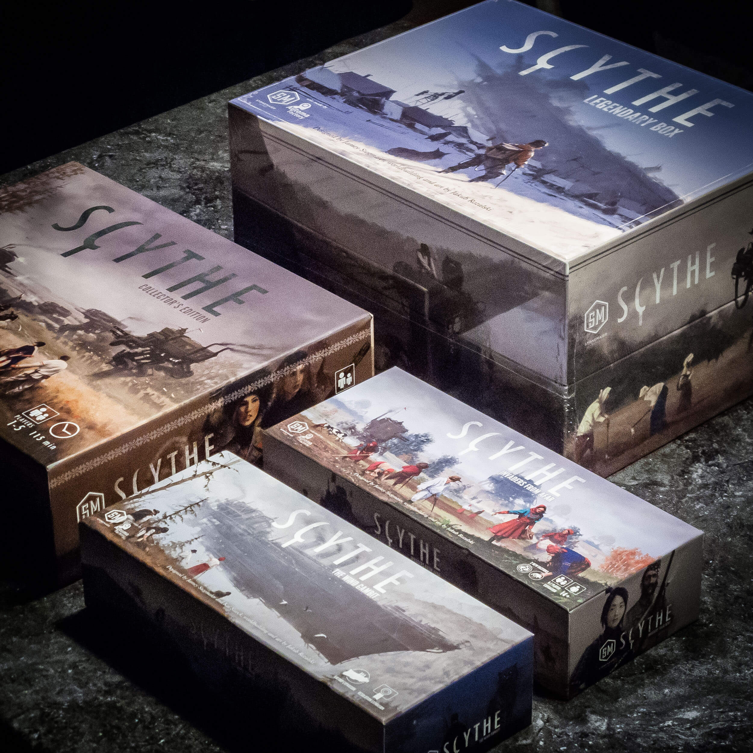 Scythe's base game box with expansions - next to the Legendary Box
