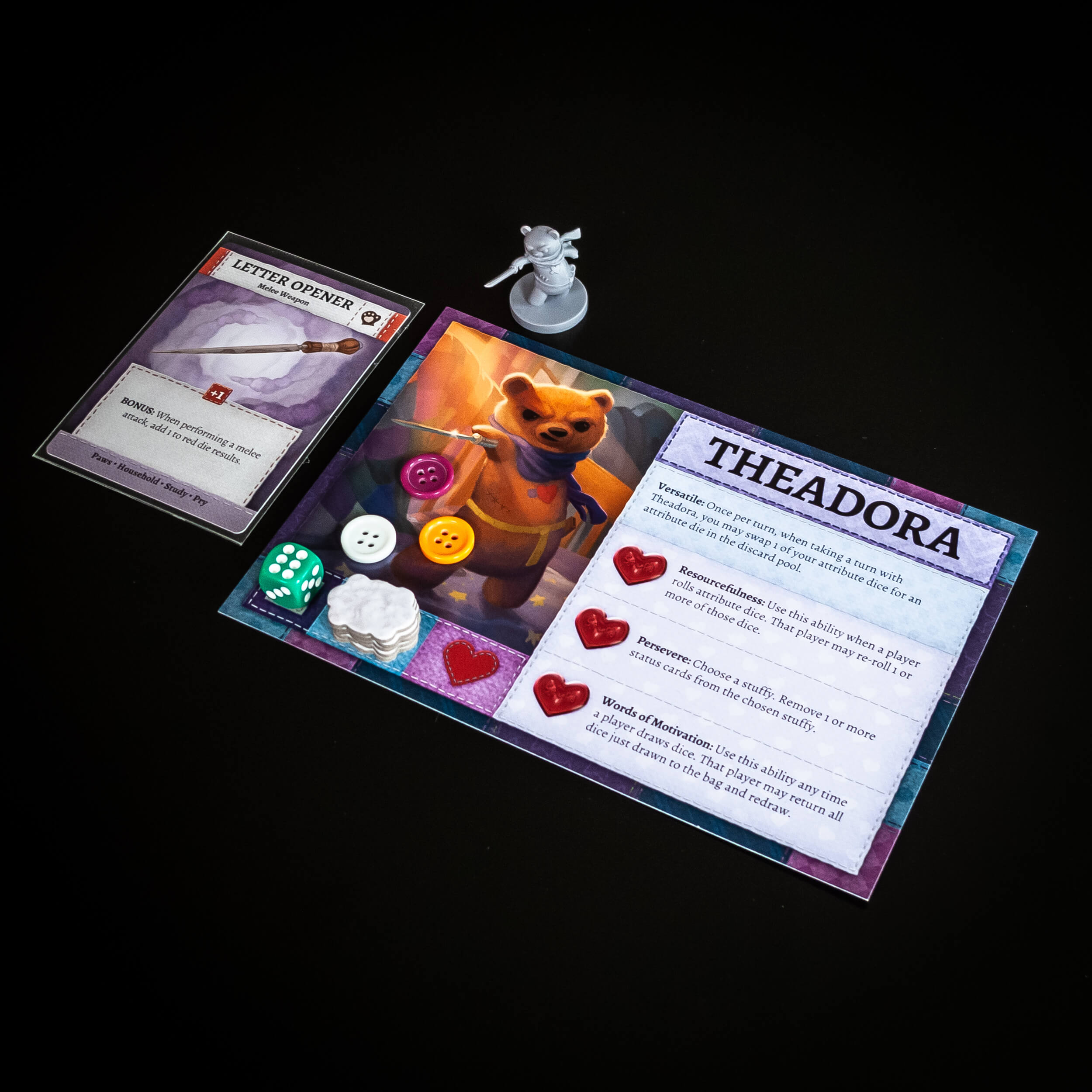 Theadora's character card showing a die in reserve, buttons, and her stack of stuffing