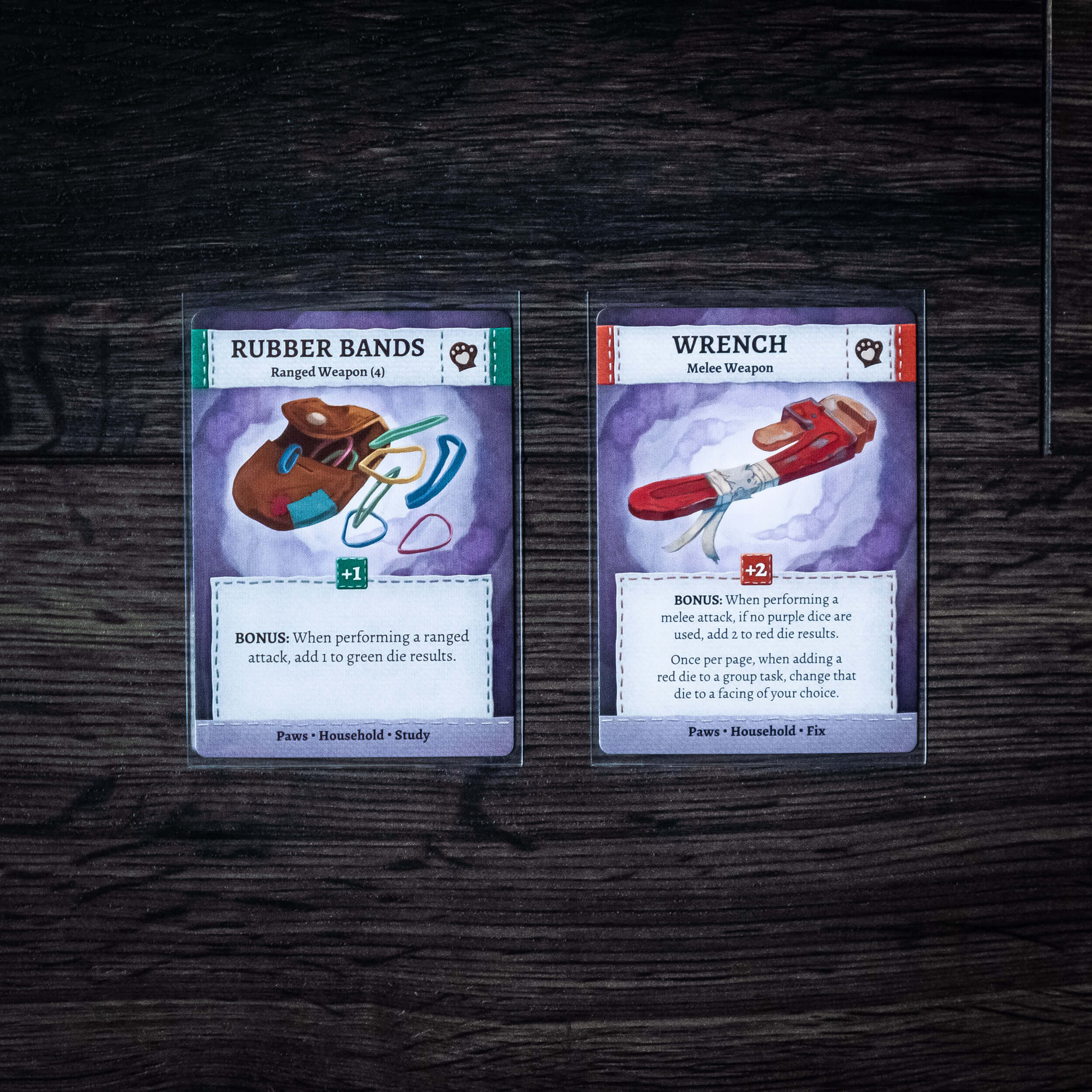 Ranged and melee weapon item cards