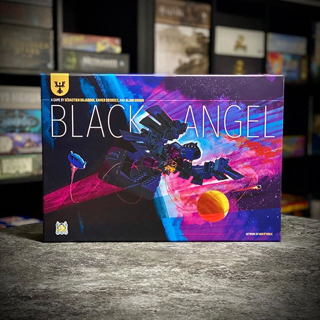 Black Angel cover. Gorgeous. I could cover my game room with art from @ianotooledesign . ⁣ ————— #games #boardgames #boardgame #boardgamegeek #tabletopgames #cardgames #boardgamer #bgg #spiel #tabletop #analoggames #boardgamesofinstagram #brettspiele #iphone11pro #gamephotography #ongoldenage