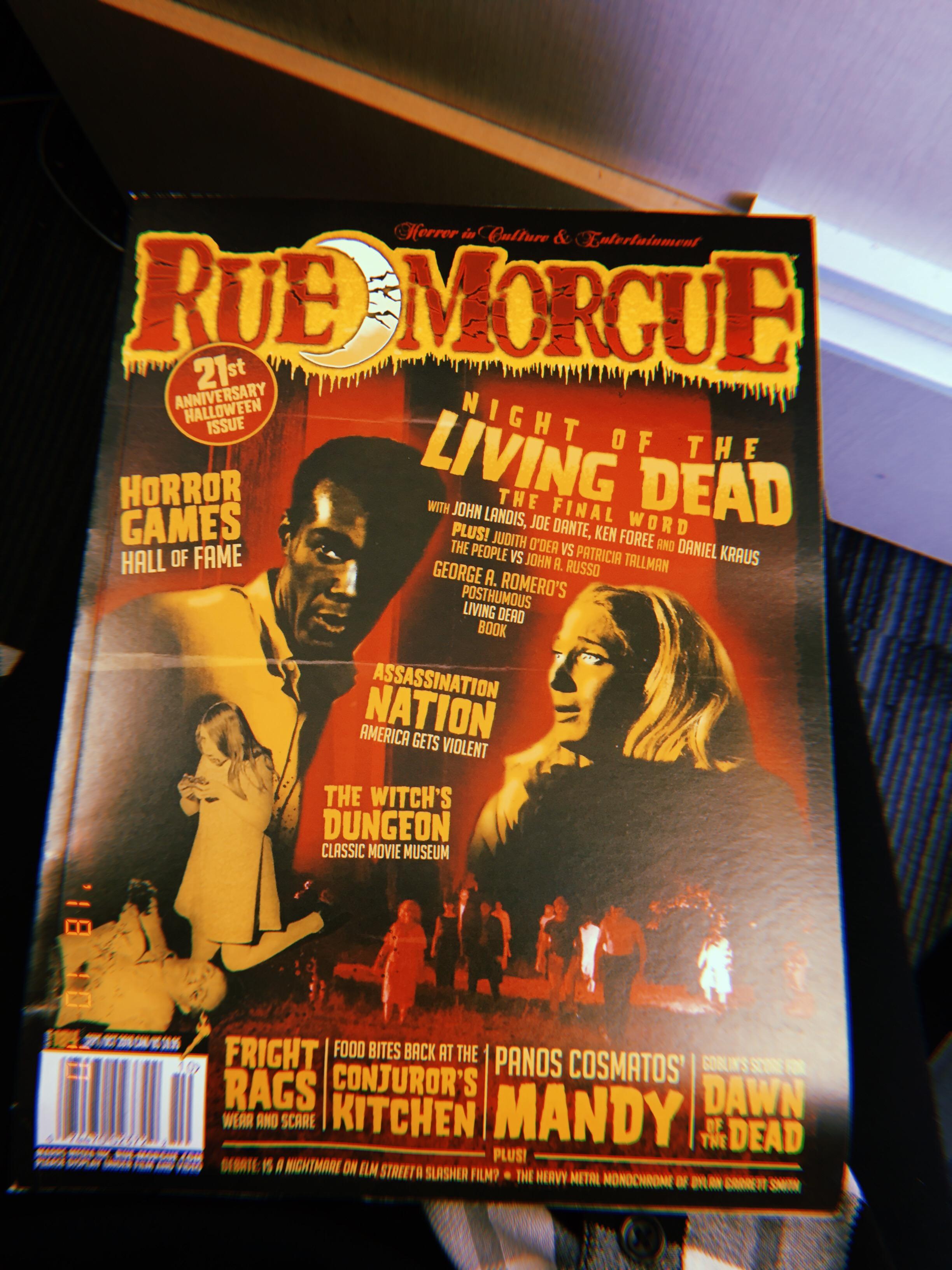 The Sept/Oct edition of Rue Morgue magazine