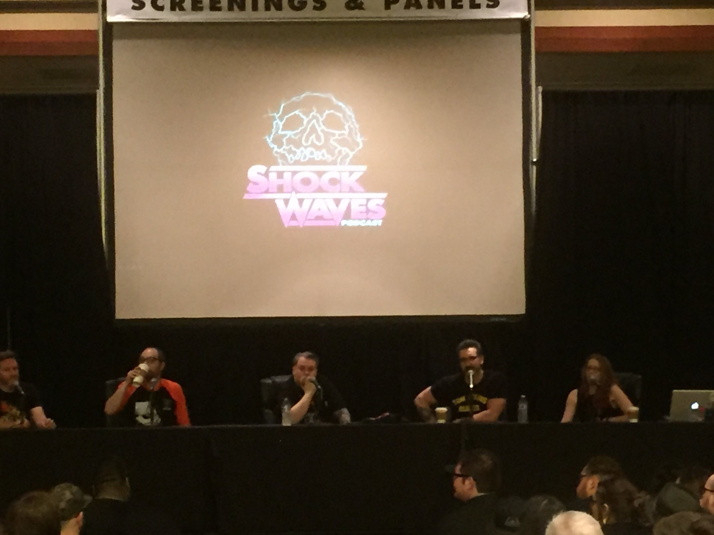 from L-R: Elric, Rob, special guest Gary Pullin, Ryan, and Rebekah doing the live Shock Waves podcast.