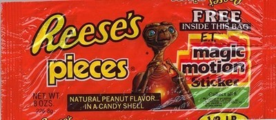 Did you know?! Pieces came out the same year as E.T. What if Reese's Pieces had gotten their big product placement deal with Pieces instead? Reese's Pieces? And instead of E.T, they could have little Timmy here on the wrapper. Why not? He's a kid. Kids like candy. He's doing a puzzle. Puzzles are fun. Candy is fun. It makes sense. And instead of stickers you could collect, they could have come with puzzle pieces! Man, they really missed the boat with this one.