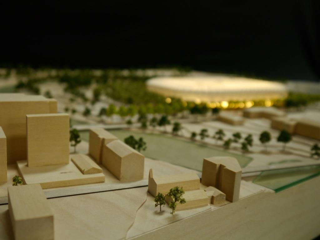 Parramatta stadium timber model by Porter Models