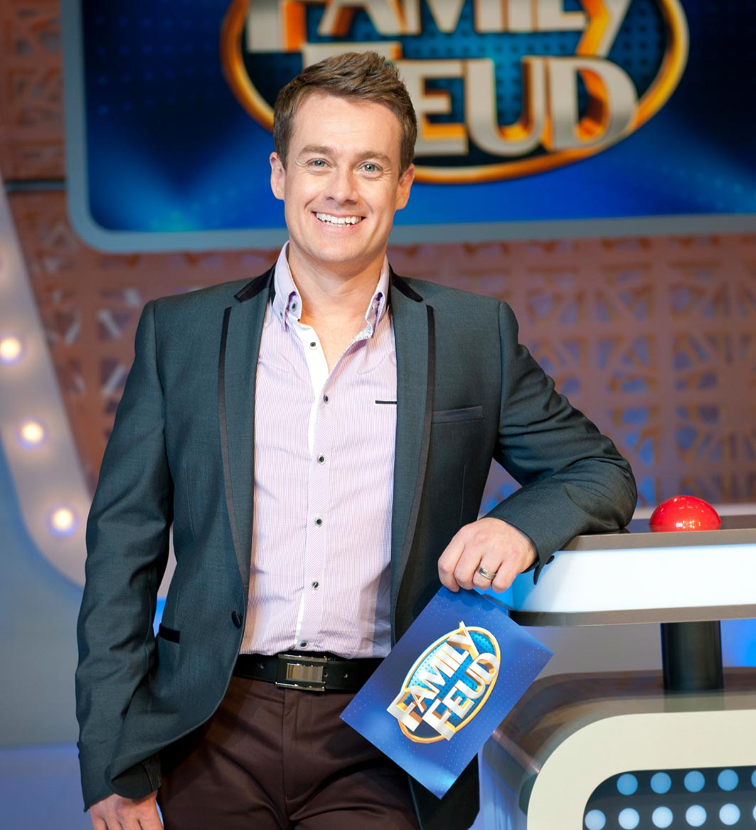 FAMILY FEUD  Network Ten  Family Feud is one of the world's most popular game shows. Regarded as one of the most perfectly constructed game shows ever devised, Family Feud is hosted by Grant Denyer and sees two families face off by answering simple questions that have been surveyed by 100 people to determine the most popular responses. The two families score points by guessing the most popular six answers, revealing that even the most simple question can illicit the funniest – and sometimes downright bizarre – answer!