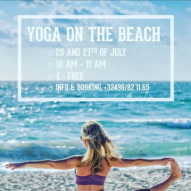 Are you at the coast, coming Saturday? Or on Saturday the 27th? Because I am @riverwoodsbeachclub, happy to go with you through some relaxing, revitalizing summer yoga moves #yoga #beach #knokke #love With @taodrinks