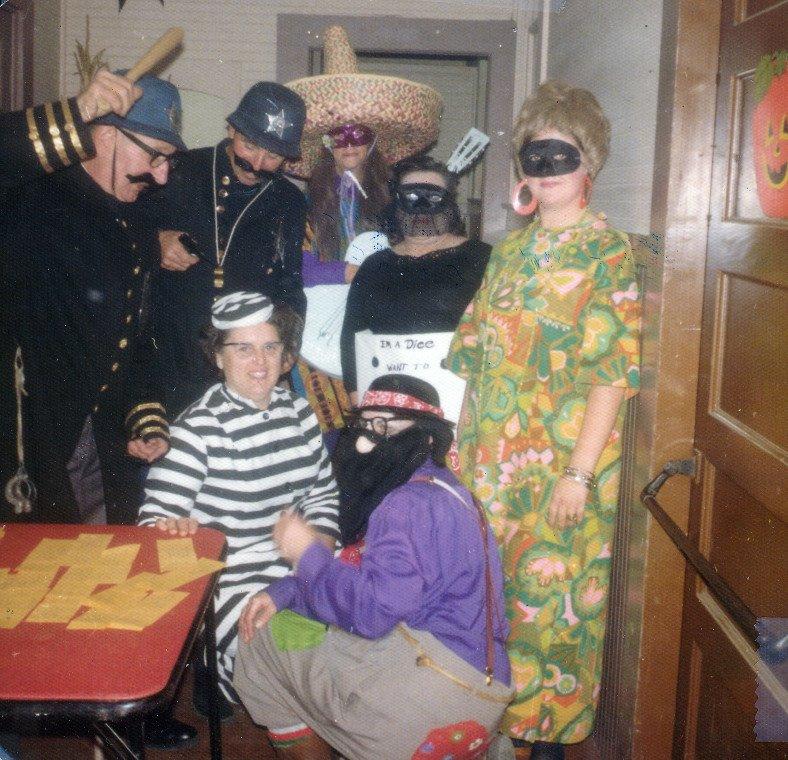 Costumed Halloween Ball revelers c. 1970s.