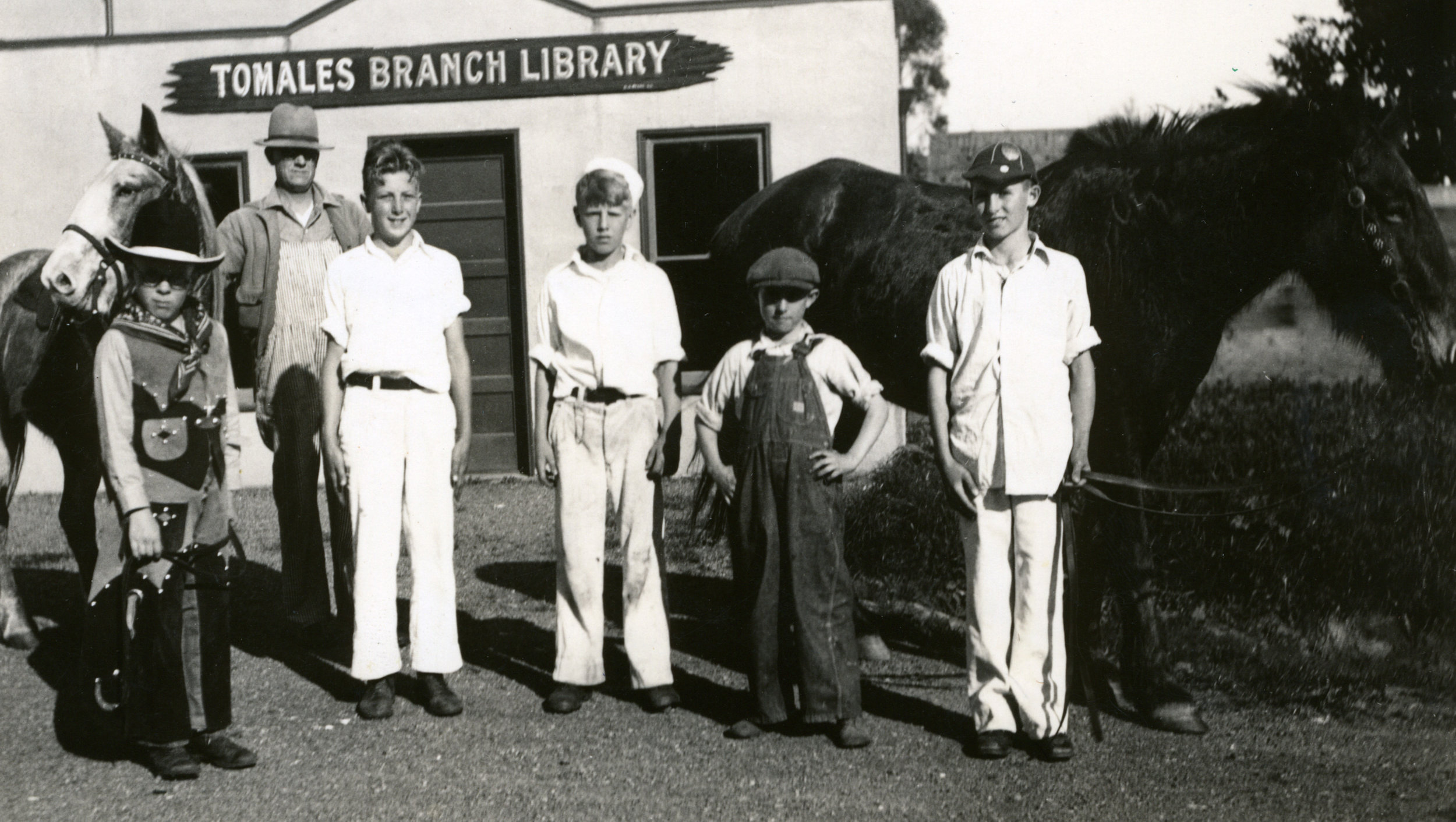 Patrons and friends outside the Tomales Town Hall Branch library c. 1930s. Photo: Ella Jorgensen; courtesy Tomales Regional History Center.