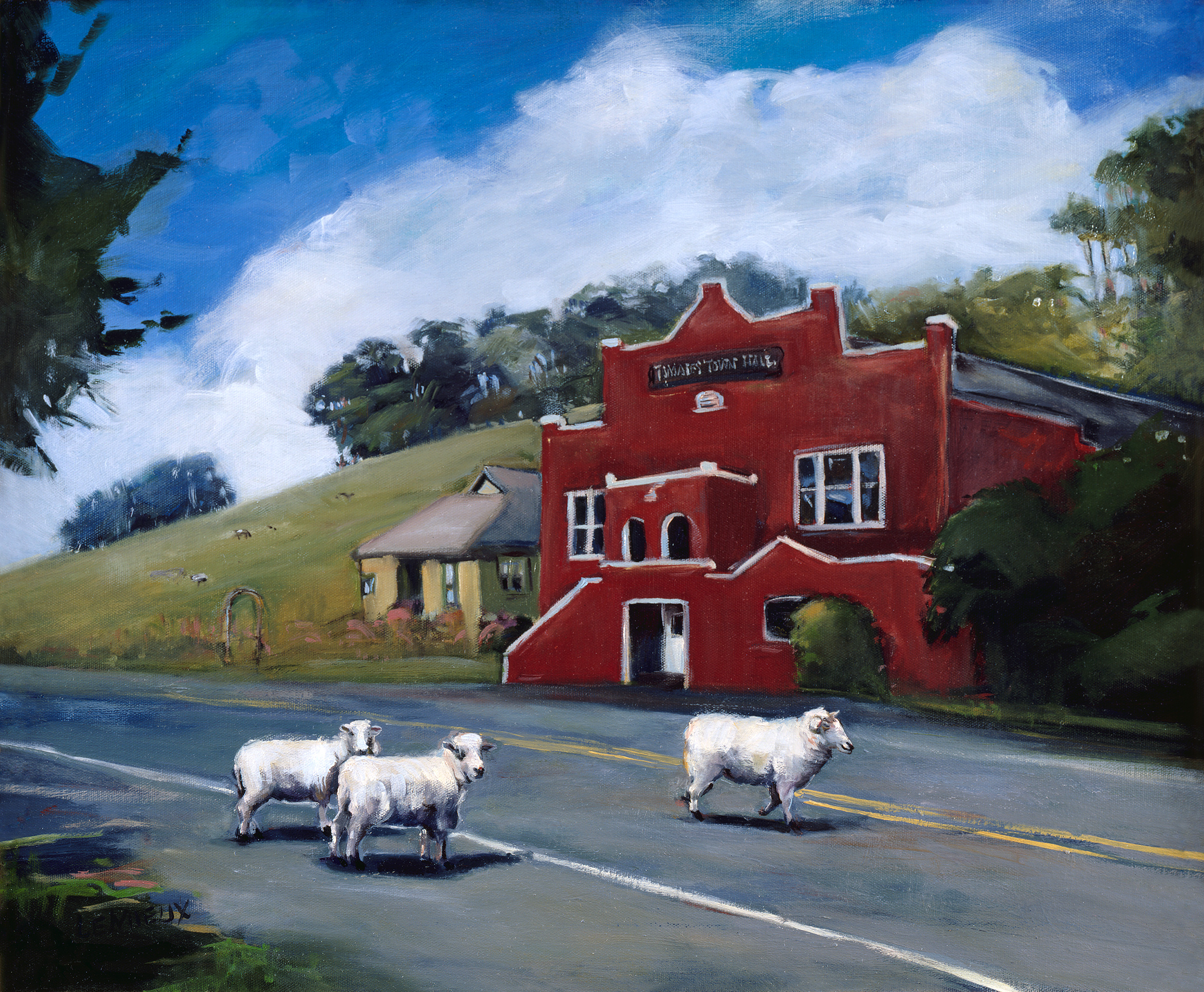 Kathryn LeMieux,  Tomales Town Hall with Sheep , 2005  This iconic painting of the Tomales Town Hall was donated by local artist Kathryn LeMieux to help kickstart a new era of renovations in 2005. As we approach our 150th anniversary, these efforts have shifted into high gear. Please join Kathryn and other generous donors and  support the Hall's rejuvenation . Contribute what you can!