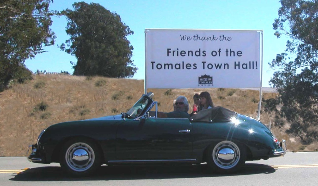 Scott Lawson in his '59 Porsche 356 with Cleo & Juliet Hadid. Tomales Founders' Day Parade, date unknown.
