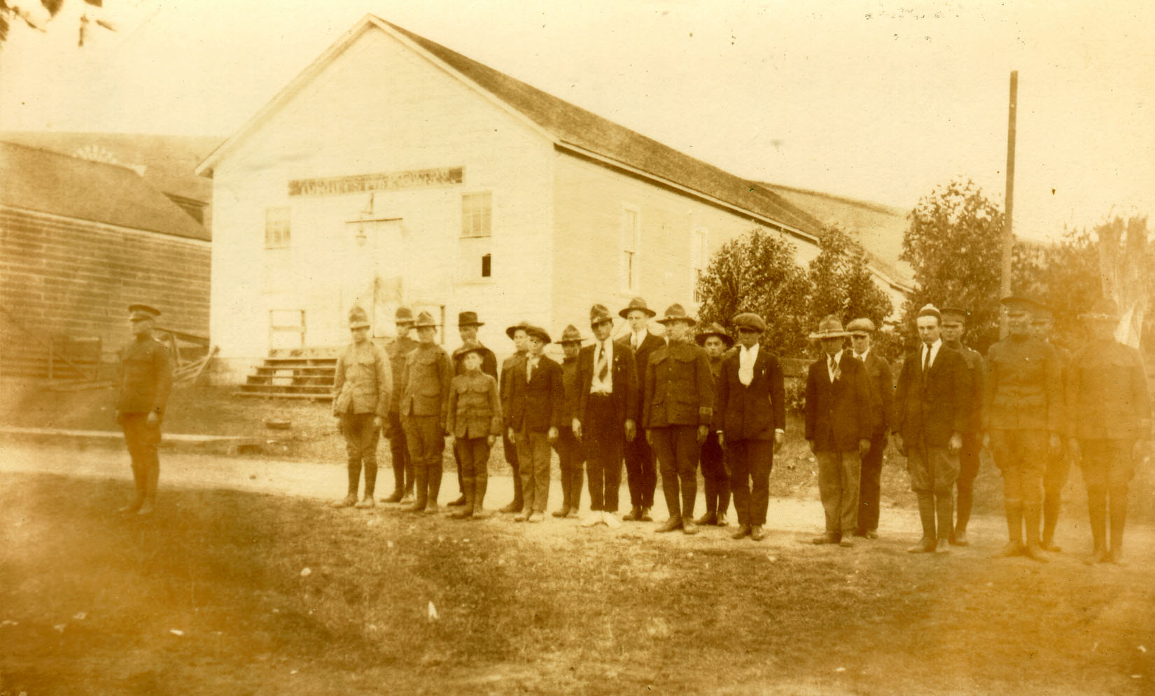 Original Town Hall with WWI ROTC soldiers, c. 1917.