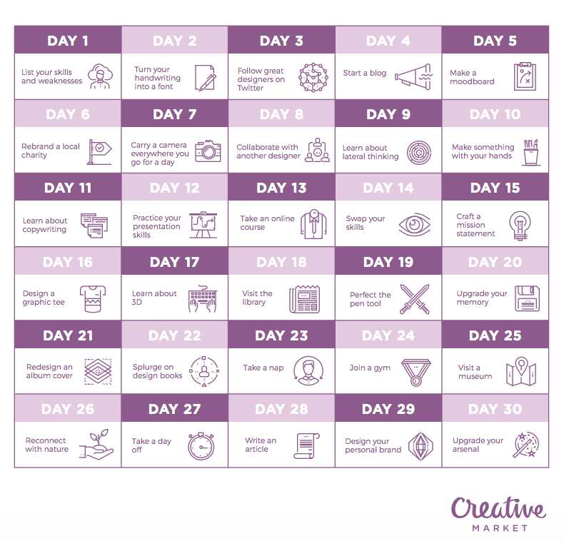 30-day calendar of the design challenge - see the expanded version  here
