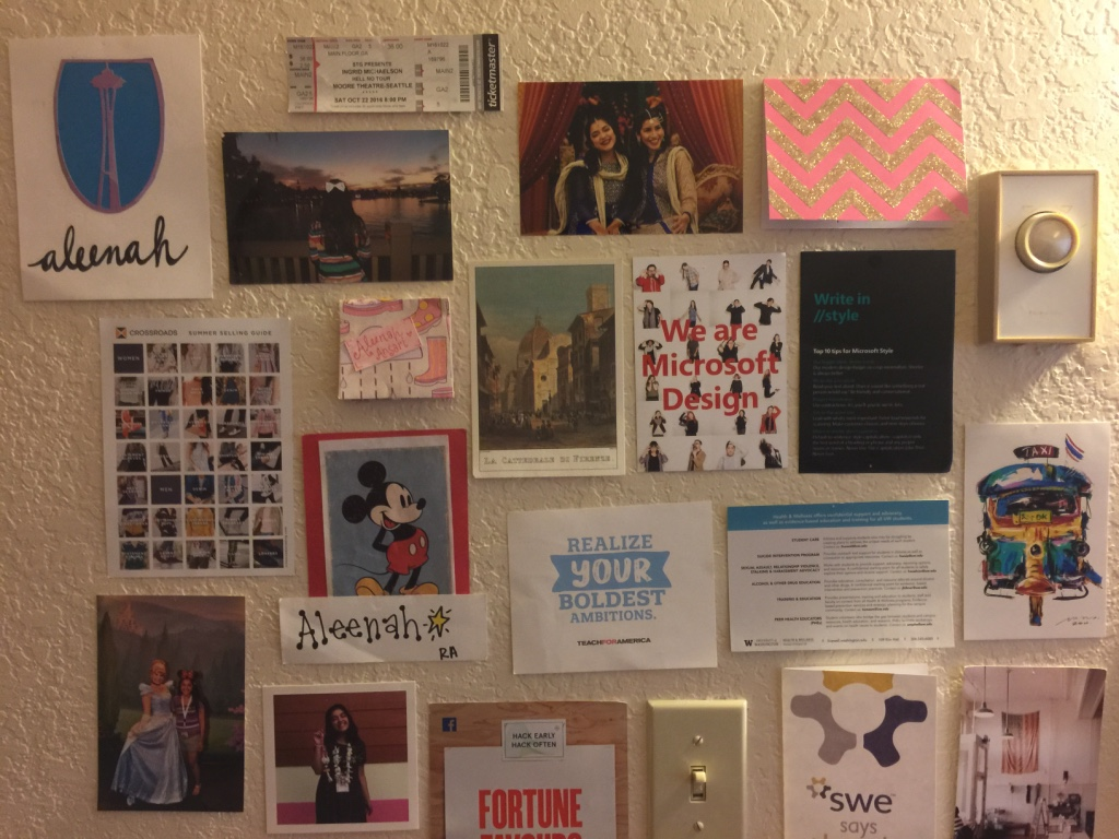 These pictures are all hung up on the wall of my room - it's a moodboard for the career I'm building for myself!