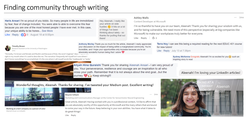 Some comments from family members, supervisors, and other friends in response to my articles! I believe that I do everything with and for my community, so reading the comments only confirms my love of writing and vulnerability.