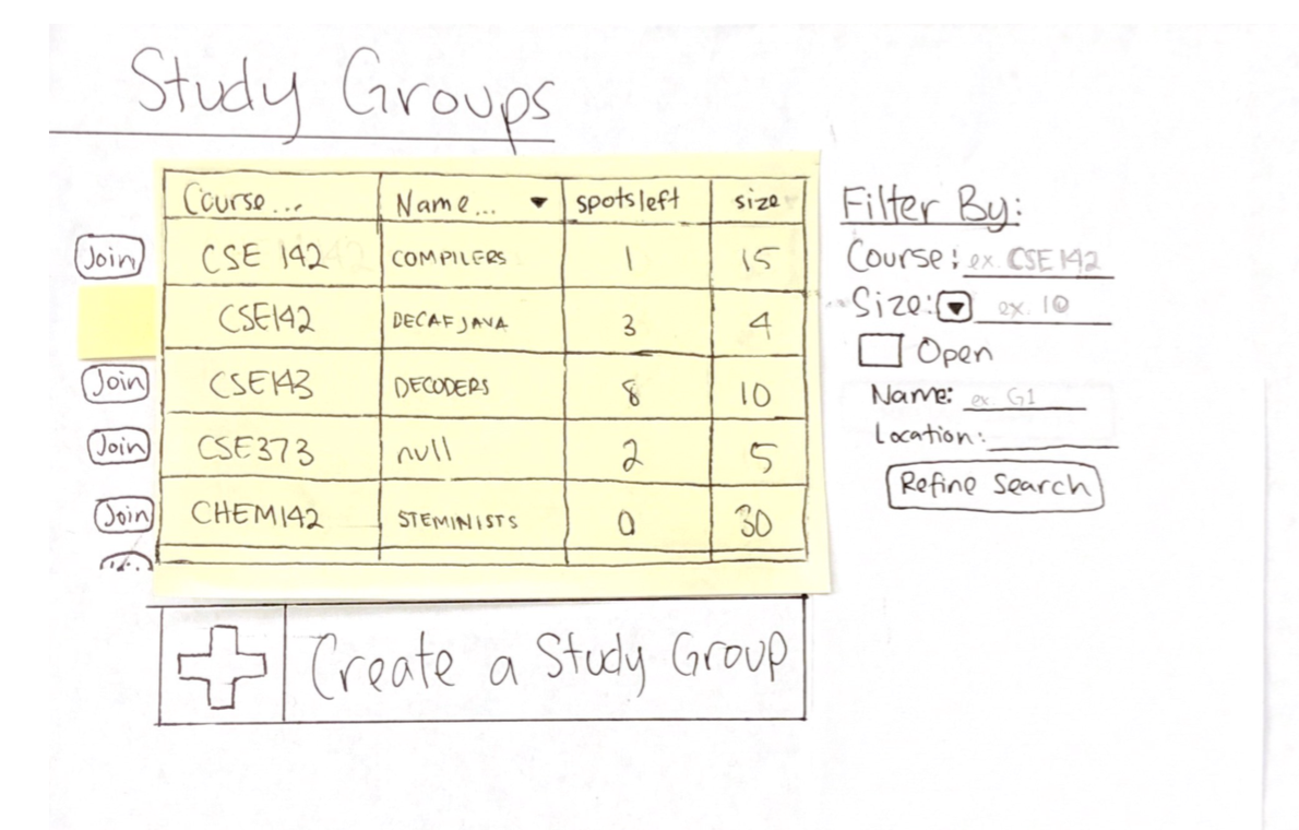 Paper Prototype: Make a Study Group