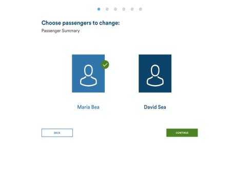 Flight selection page in proposed high-fidelity mock-up