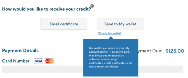 """Hover over feature for """"My Wallet,"""" an Alaska-specific feature"""