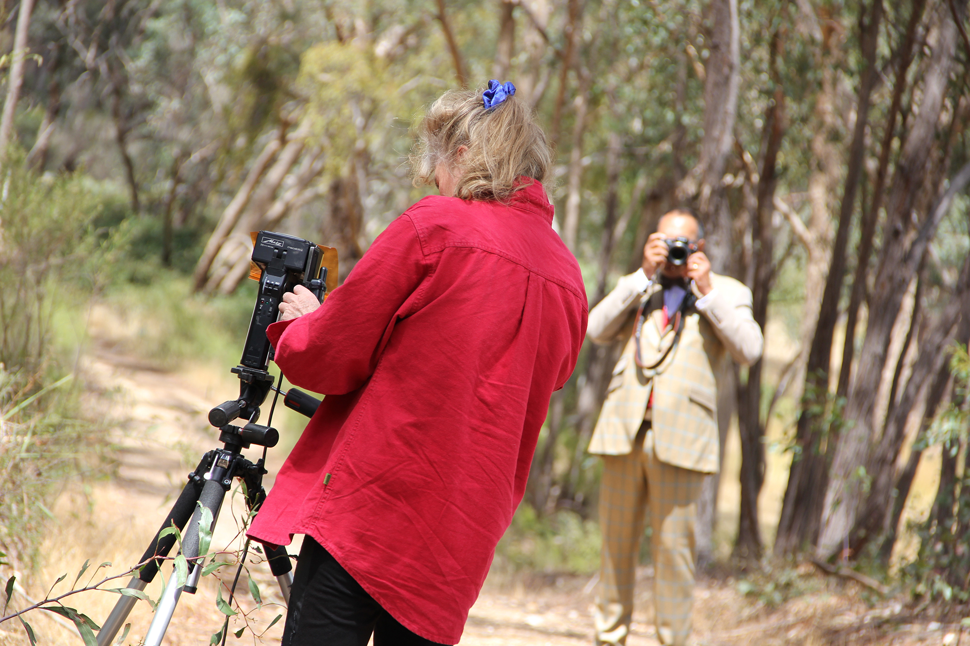 Photographic documentation during the photo-shoot at Fryerstown, Victoria, for the artwork Bespoke. Image courtesy of Marion Williams.