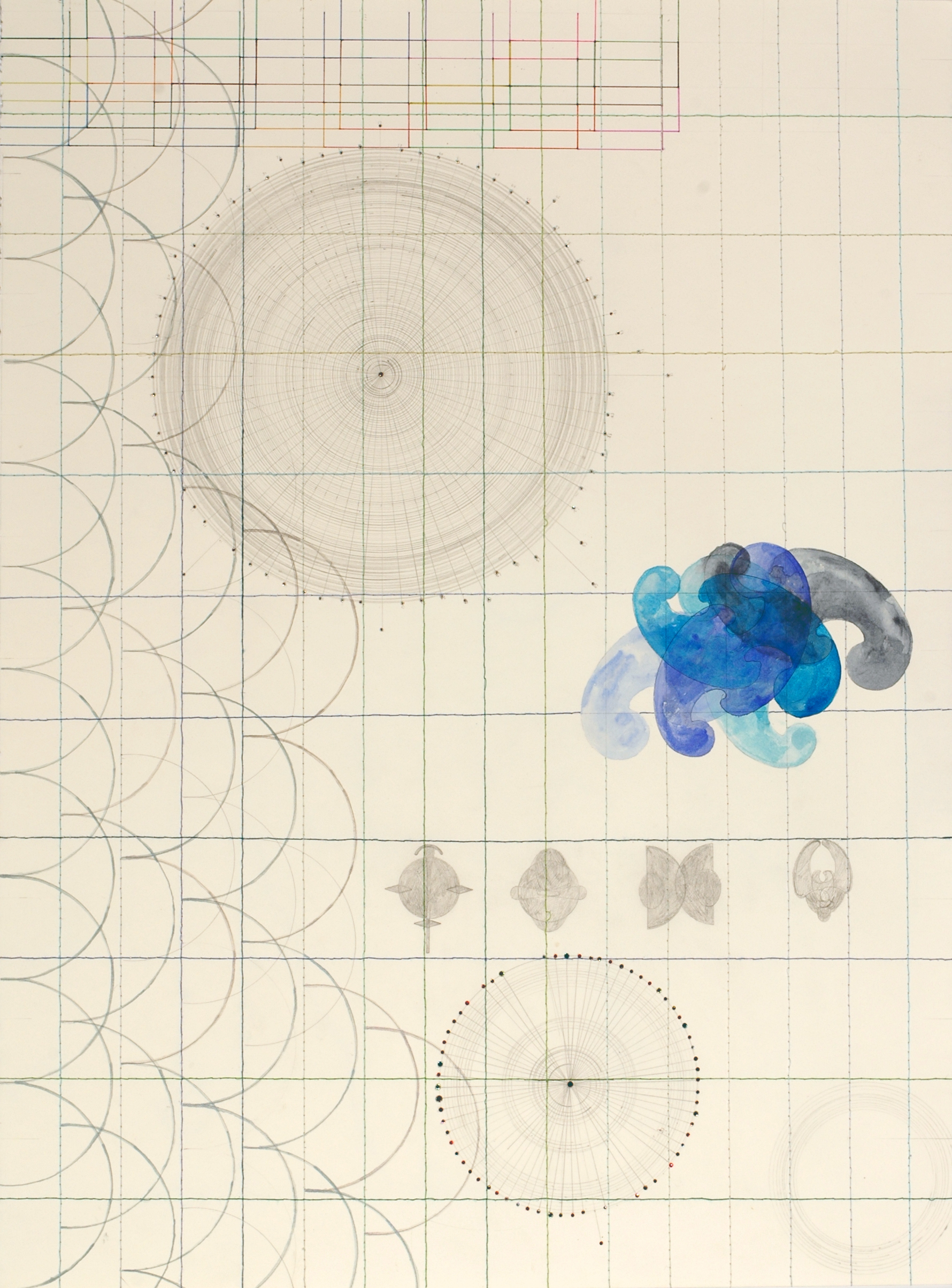 The Melancholic Solitude of Giant Squid (2007)    Japanese Watercolour, Pencil, Polycotton Thread, Cotton Thread, Acrylic, Texta Marker, Swarovski Crystals on Stonehenge Paper    76.5 x 56.5 cm