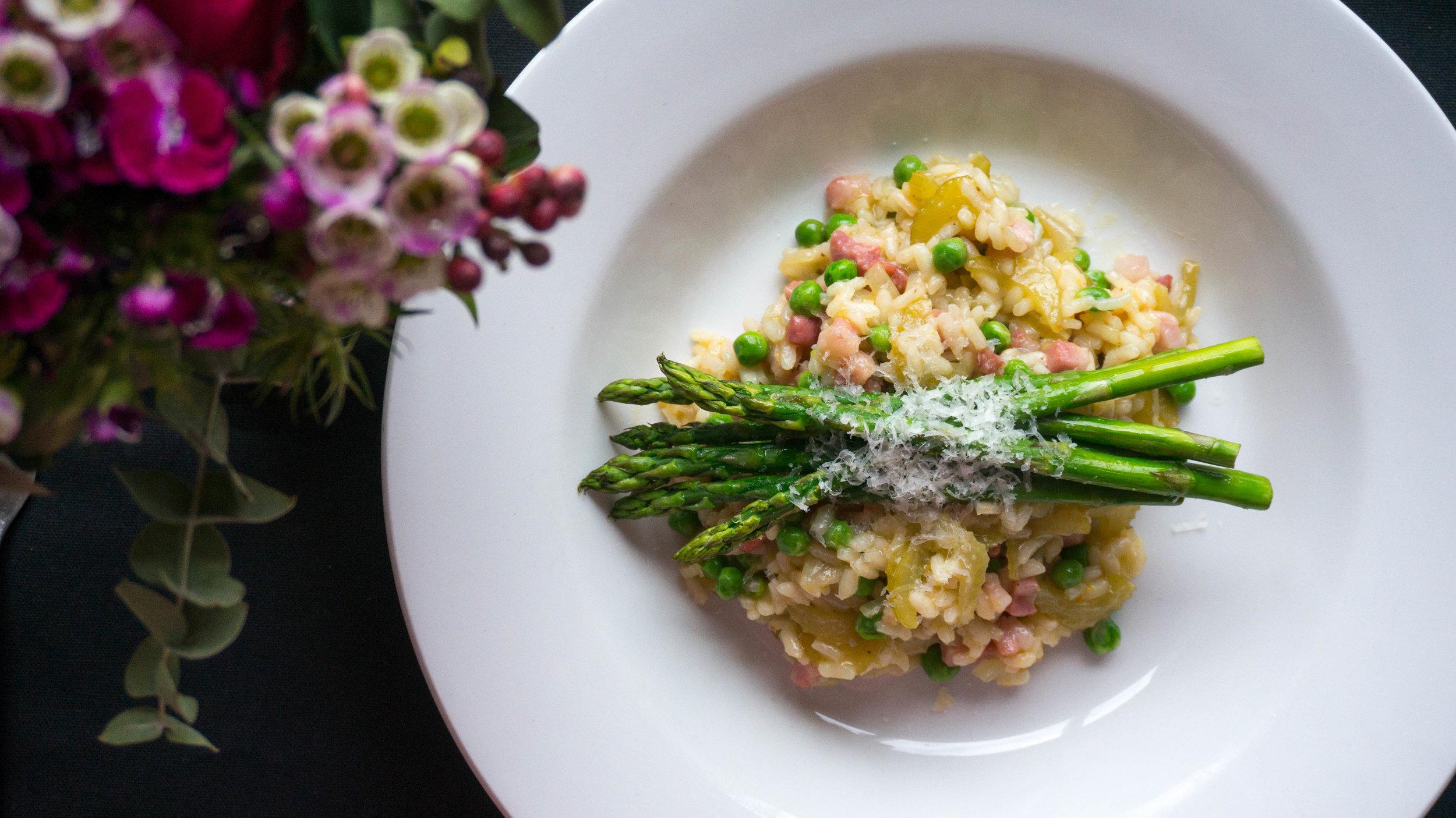 pea, pancetta & asparagus risotto