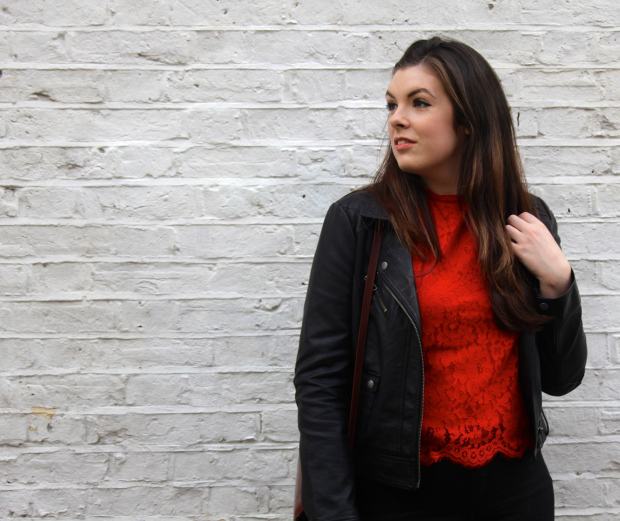 Red Lace Top Leather Jacket The Style Stories Edinburgh blog