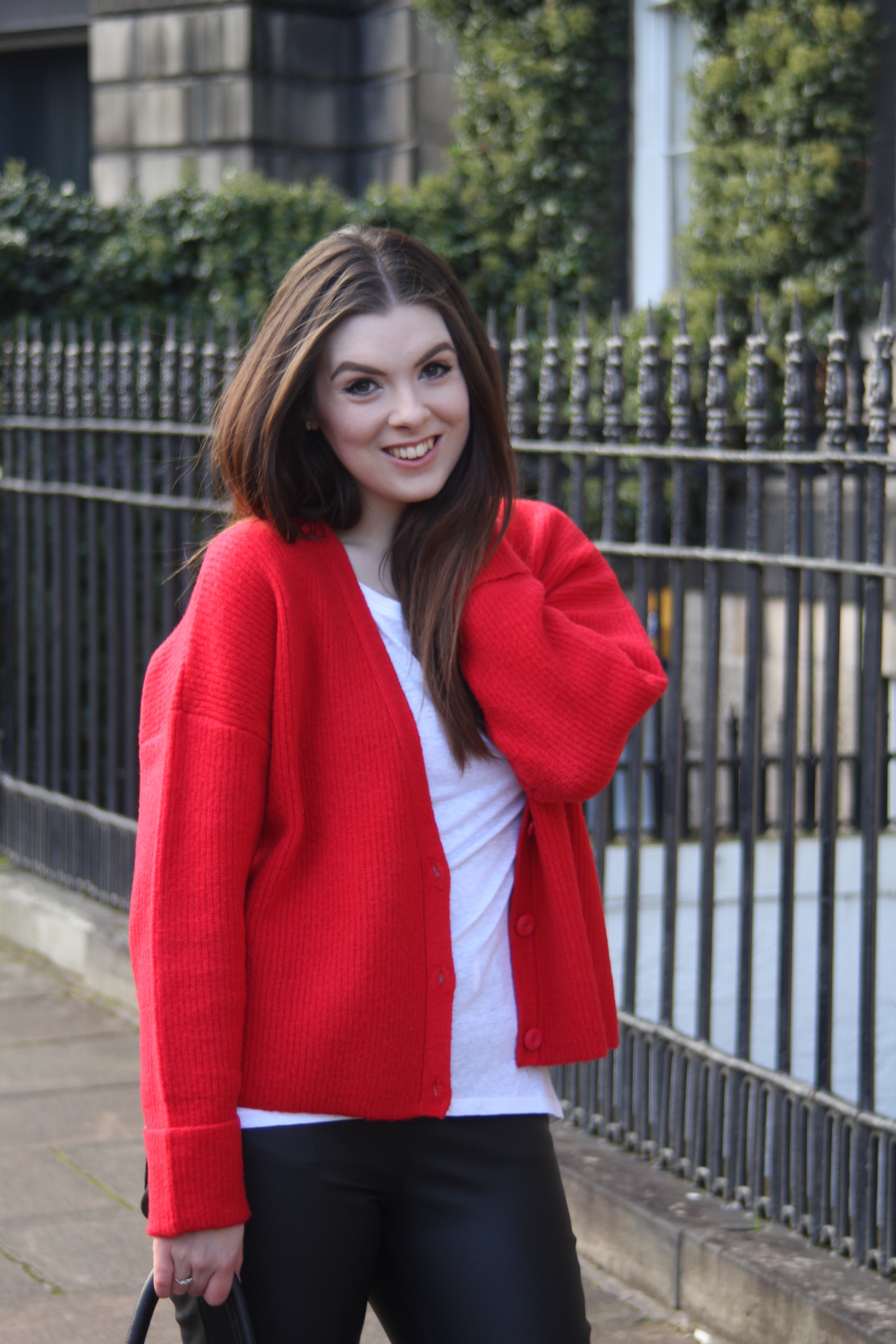 the style stories asos red cardigan