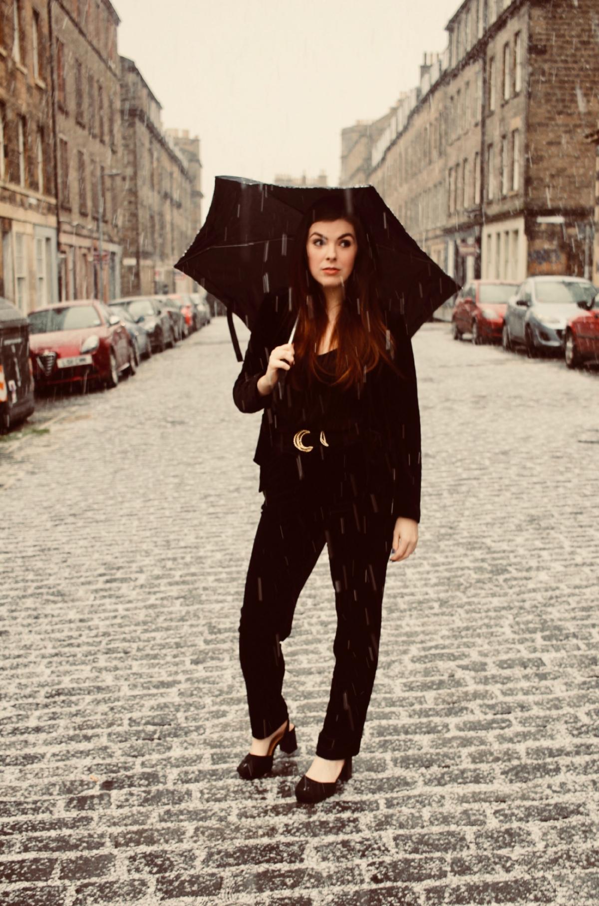 the style stories lotd black velvet suit