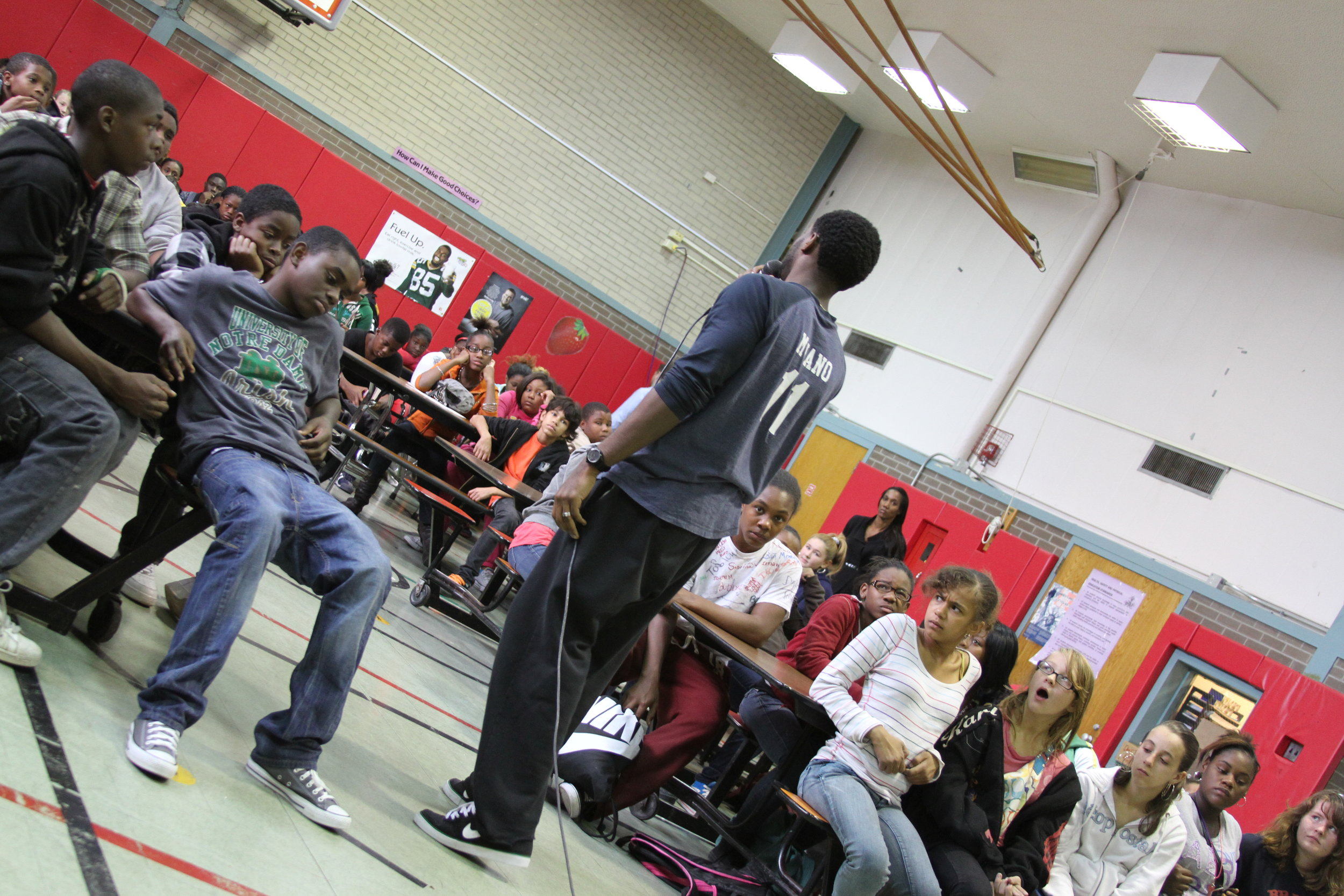 Deo speaking to students in Pittsburgh, PA.