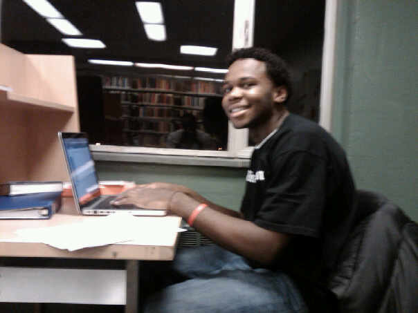 Deo's Study Spot at New England College's Library Freshman Year