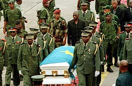 Laurent Kabila's funeral ceremony in 2001. Source of the image:http://www.economist.com/node/486713