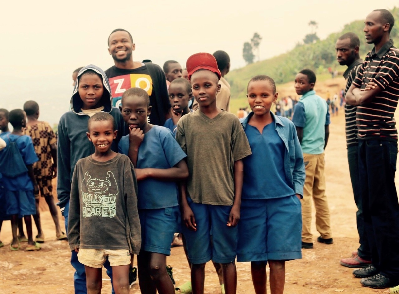 Deo at Kiziba refugee camp in Rwanda with Congolese refugees in 2015