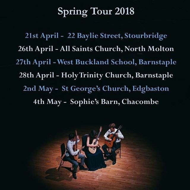 As it's officially springtime (☔️) we'd like to announce details of our Spring Tour!! Please check out our website for more details, we'd love to see you there! https://www.almagt.com/concerts/  Happy Easter!! 🌼  #easter #holiday #music #concerts #england #birmingham #edgbaston #stourbridge #northmolton #sophiesbarn #chacombe #westbuckland #devon #oxfordshire #almagt #guitar #trio #ensemble #classical #tour #2018 #chamber