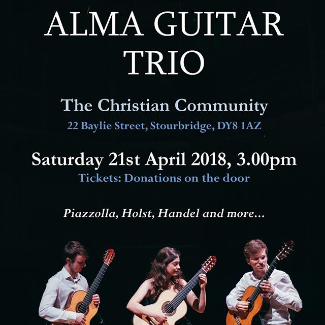 ☀️ We're really looking forward to our trip to Stourbridge tomorrow, join us for an afternoon concert! 😃 #music #guitar #trio #concerts #almagt #stourbridge #ensemble #classical #tour #2018 #chamber