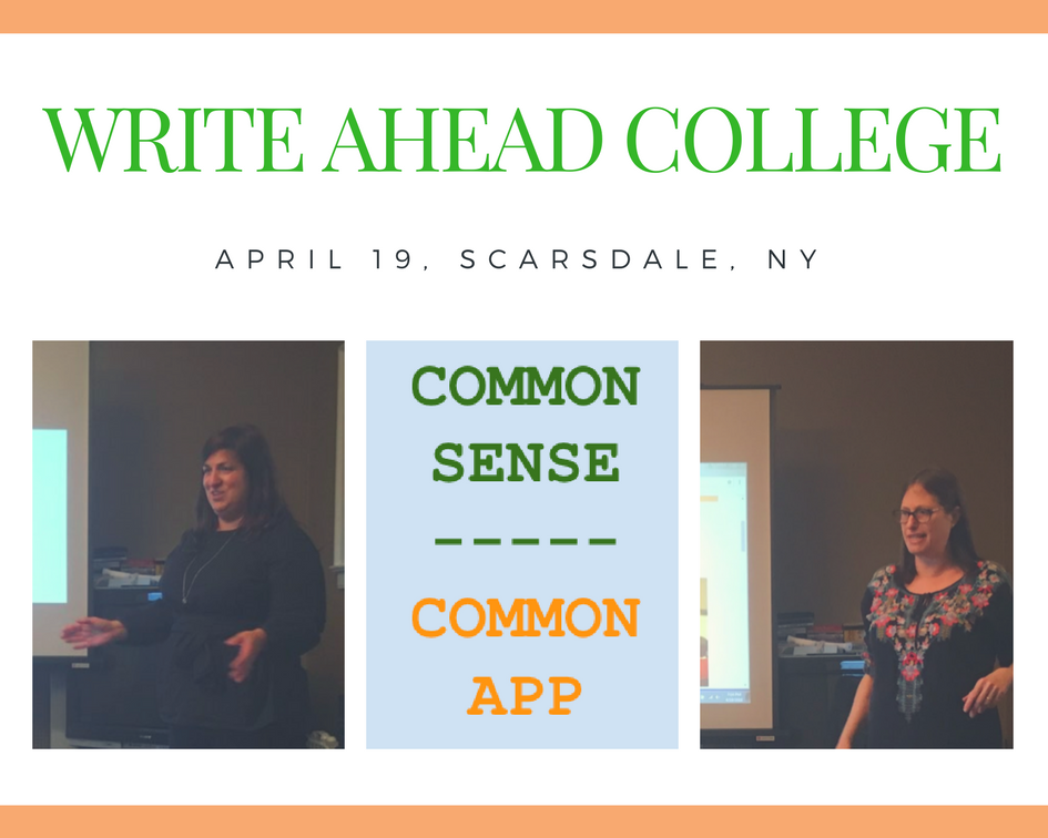 "Liz Waltzman and Meg Sullivan presenting ""Common Sense for the Common Application"""