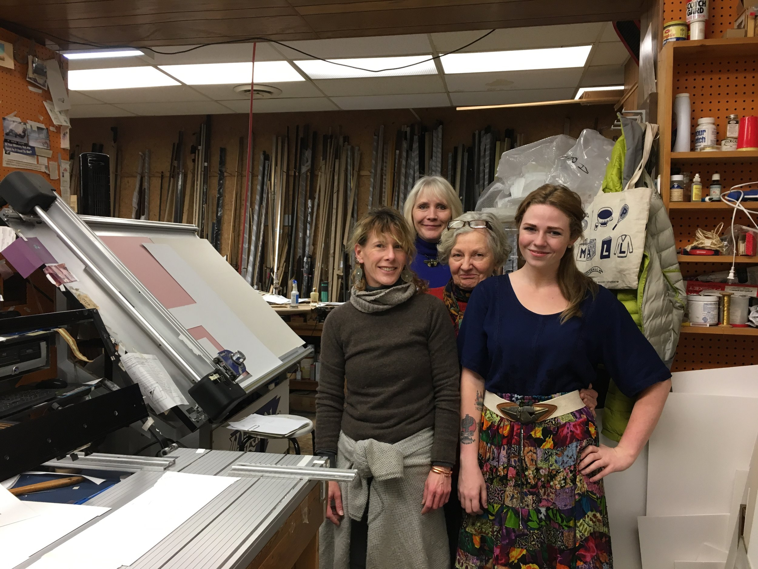 Staff members of Artware: (left front) Erin Hill, (right front) Regan Baudelaire, (middle) Betsy Westad Cunningham , (back) Susan Blass